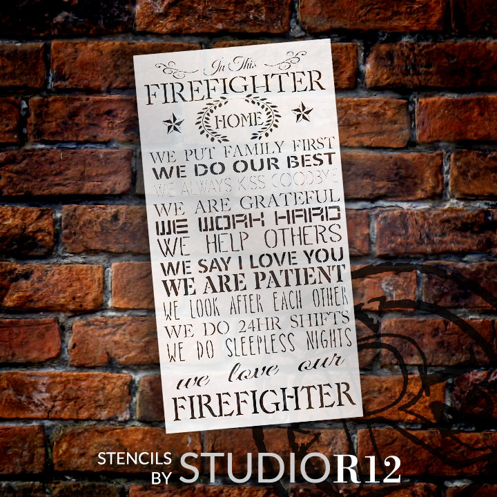"Firefighter's Home Word Stencil - 13"" x 25"" - STCL1455 - by StudioR12"