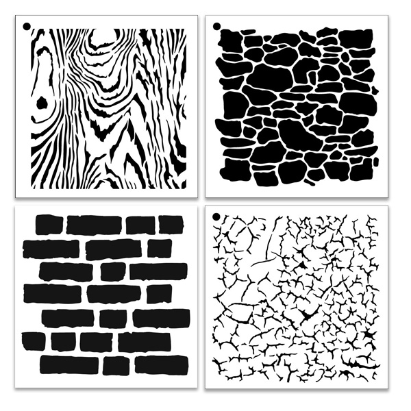 "Natural Textures Pattern Stencil Set  - 6"" x 6"""