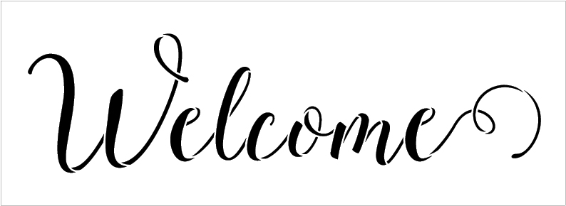"""Welcome  Word Stencil by StudioR12 - Sunny Script - 11"""" x 4"""" - STCL1438_1"""