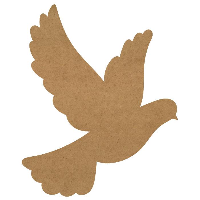 "Dove Wood Embellishment Mini - 1 3/5"" x 2"""