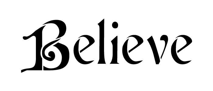 "Believe - Word Stencil - Cardinal - 7"" x 3"" - STCL992_1 by StudioR12"