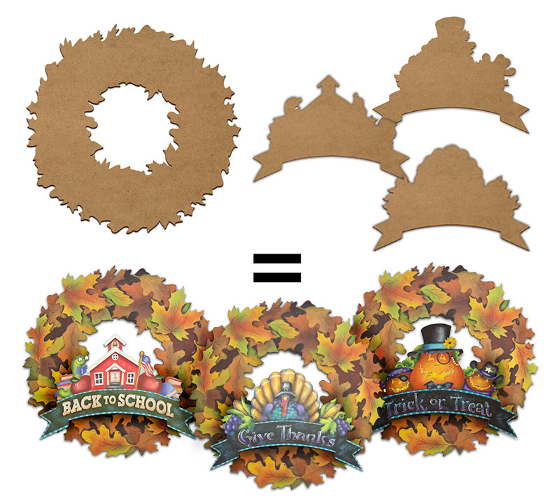 Fall Leaf Wreath Project Surface Set
