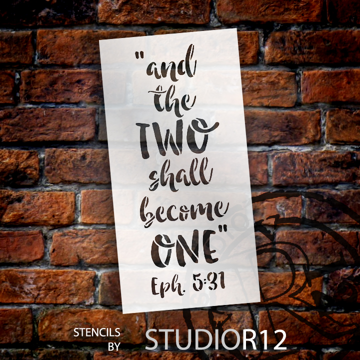 "And the Two Shall Become One - Word Stencil - 6"" x 12"" - STCL1580_1 by StudioR12"