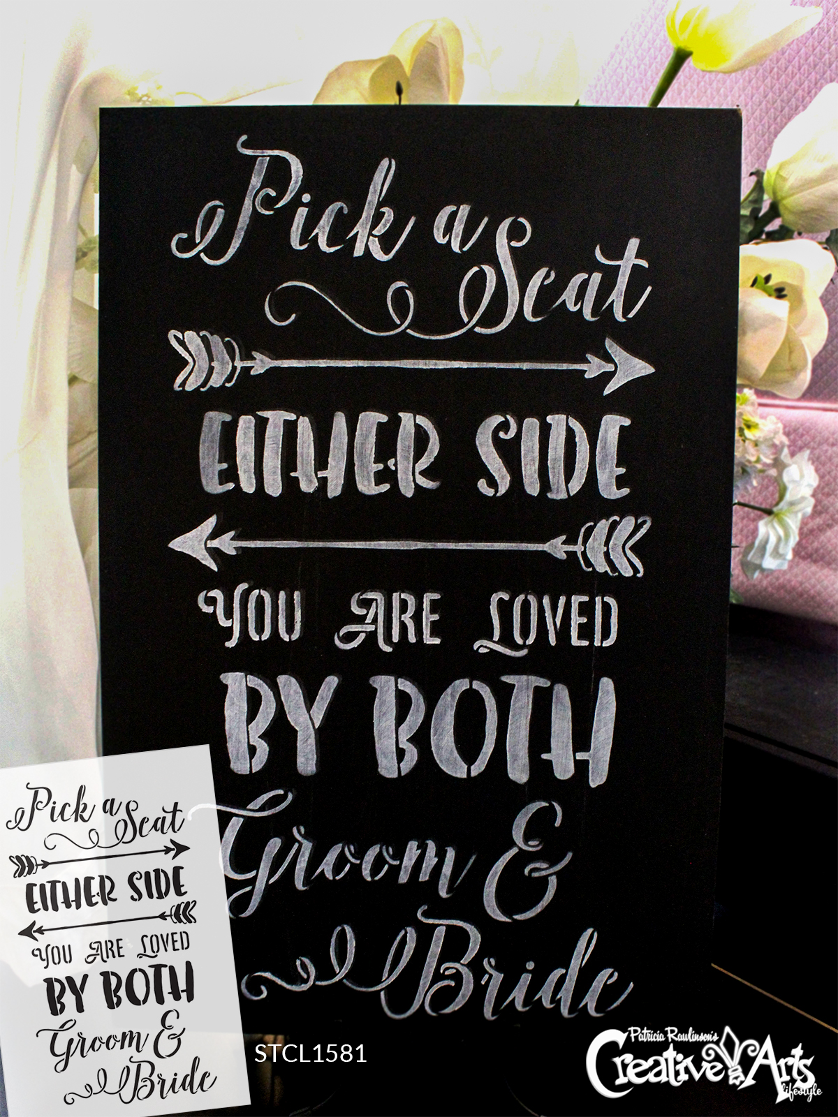 """Pick A Seat, Either Side - Wedding Stencil - 10"""" x 15"""" - STCL1581_2 by StudioR12"""