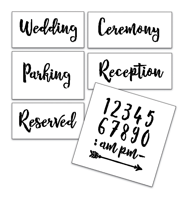 Wedding Stencil Words - Locations - Rustic Script 6pc Jumbo Set - STCL1591_4 by StudioR12