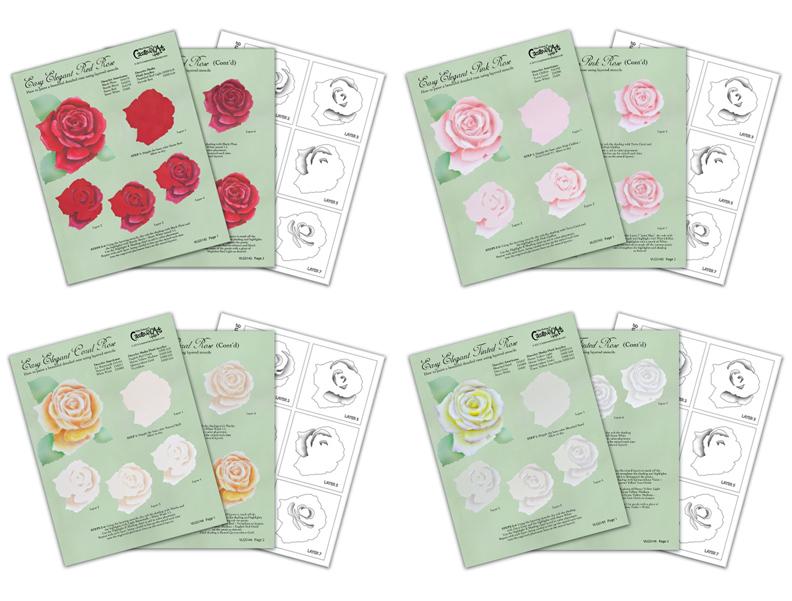 Easy Elegant Roses Worksheet Set - E-Visual Learning Guide