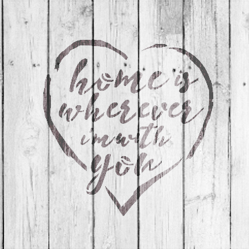 """Home Is Wherever - Rustic Script - Word Stencil - 9"""" x 9"""" - STCL1514_3 by StudioR12"""
