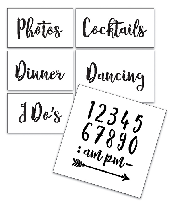 Wedding Stencil Words - Fun Stuff - Rustic Script 6pc Small Set - STCL1593_1 by StudioR12