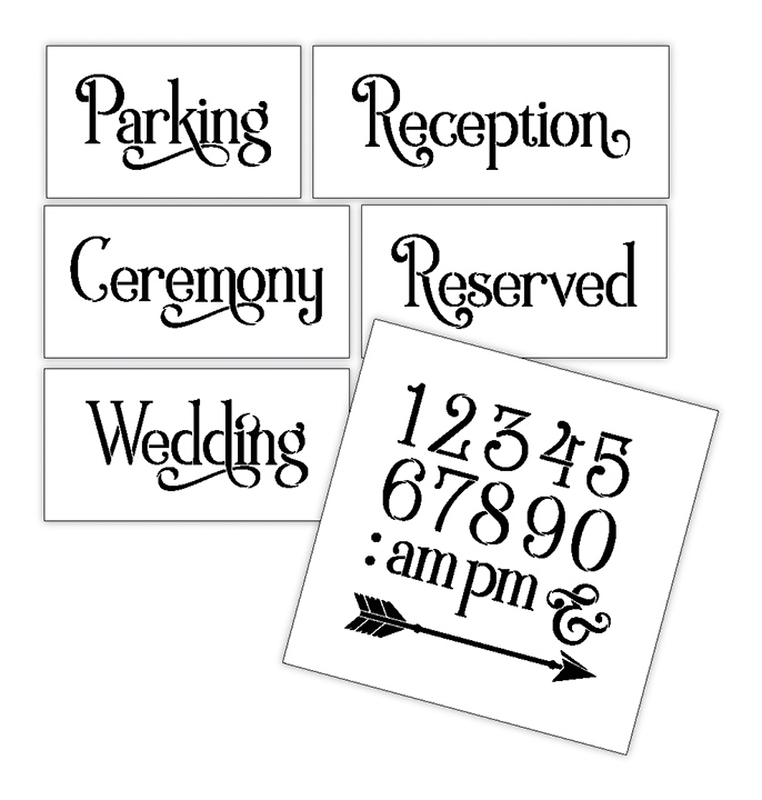 Wedding Stencil Words - Locations - Elegant Traditional 6pc Medium Set - STCL1597_2 by StudioR12