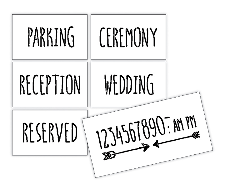 Wedding Stencil Words - Locations - Skinny Hand 6pc Medium Set - STCL1600_2 by StudioR12
