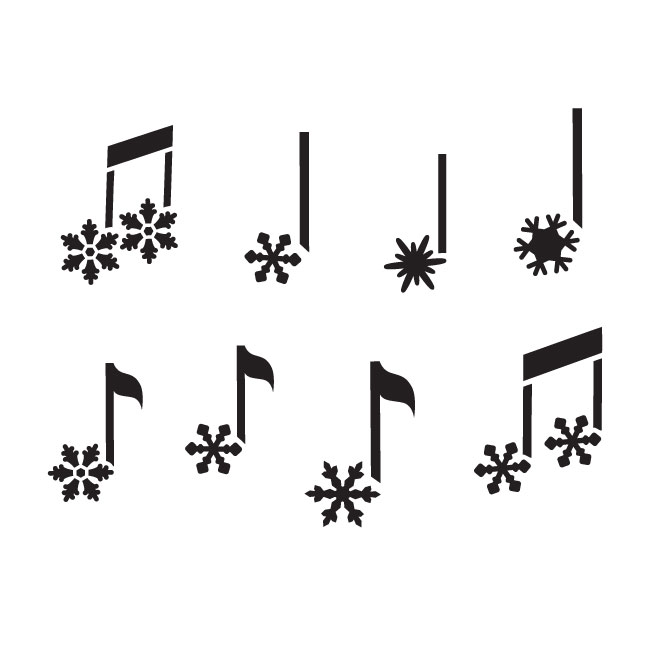 "Snowflake Music Notes Art Stencil - 9"" x 9"" - STCL867_2 - by StudioR12"