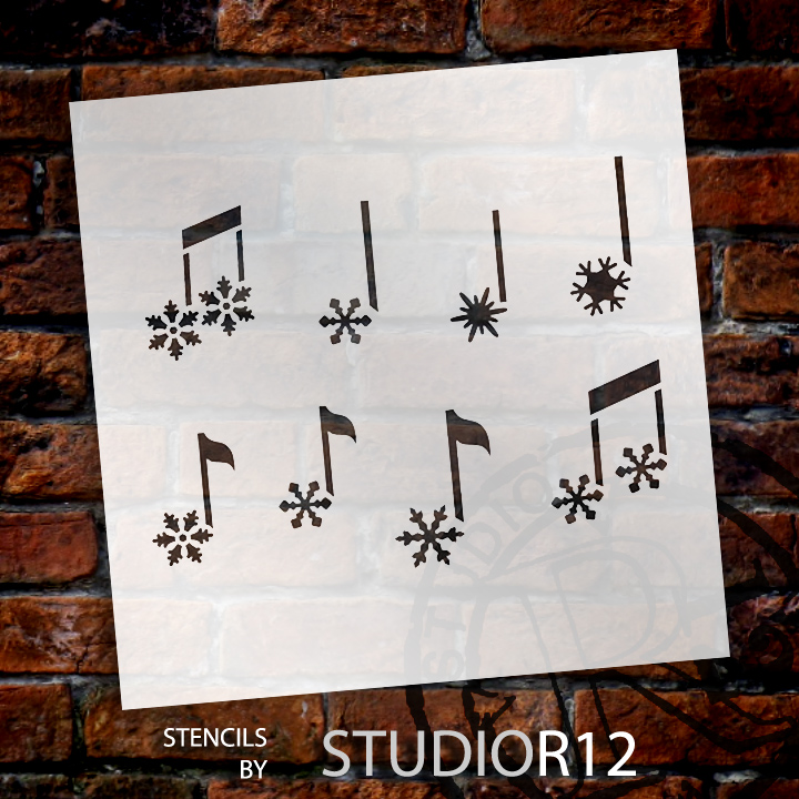 "Snowflake Music Notes Art Stencil - 12"" x 12"" - STCL867_3 - by StudioR12"