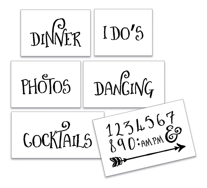 Wedding Stencil Words - Fun Stuff - Fancy Funky 6pc Small Set - STCL1596_1 by StudioR12