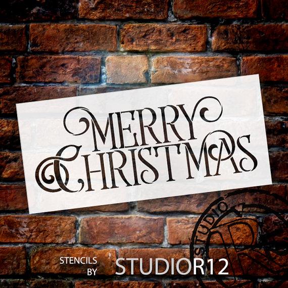 "Merry Christmas - Elegant Vintage Serif - Word Stencil - STCL1537 - 14"" x 7"""