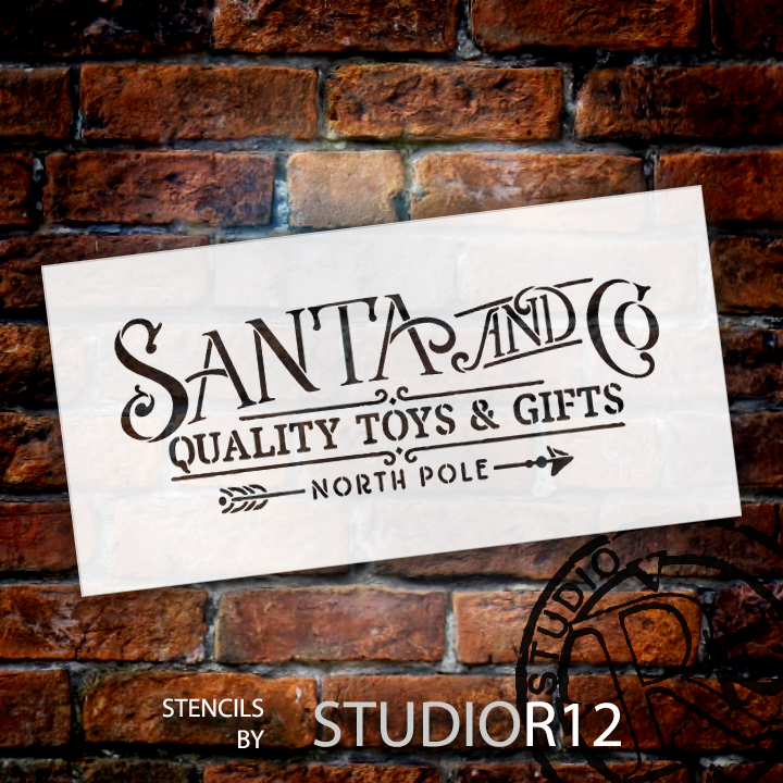 "Santa and Co. Word Stencil by StudioR12 | Reusable Mylar Template, Use for Holiday and Christmas Wall Art - 18"" x 9"" - STCL1536_3"