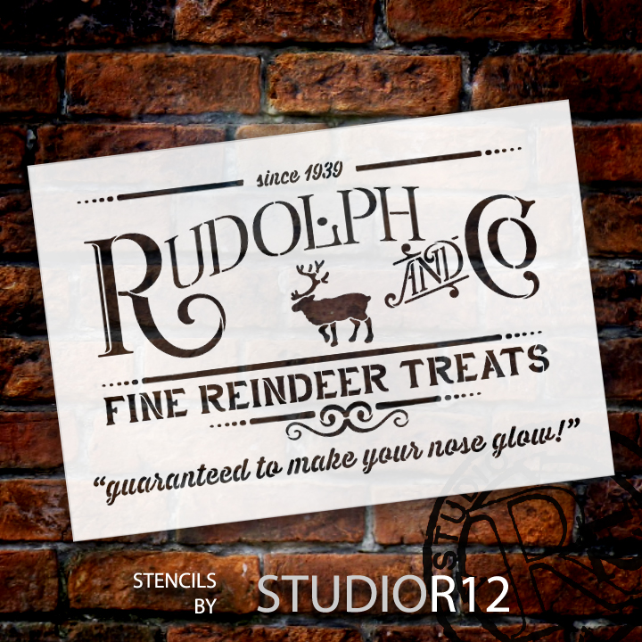 "Rudolph and Co. Stencil by StudioR12 | Fine Reindeer Treats Christmas Word Art - 13"" x 9"" - STCL1538_1"