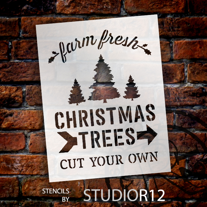 "Farm Fresh Christmas Trees - Word Art Stencil - 9"" x 11"" - STCL1539_1 - by StudioR12"