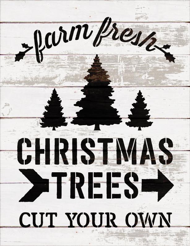 """Farm Fresh Christmas Trees - Word Art Stencil - 16"""" x 20"""" - STCL1539_4 - by StudioR12"""