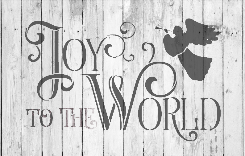 "Joy To The World - Elegant Vintage Serif - Word Art Stencil - 14"" x 9"" - STCL1540_2 - by StudioR12"
