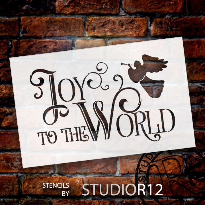 "Joy To The World - Elegant Vintage Serif - Word Art Stencil - 17"" x 11"" - STCL1540_3 - by StudioR12"