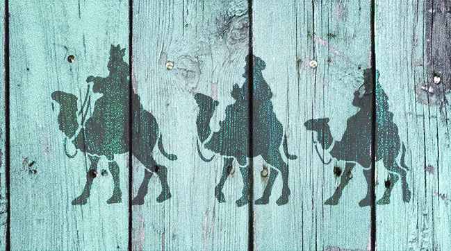 """Christmas Shapes Stencil - Three Wise Men - 15"""" x 9"""" - STCL1544_3 - by StudioR12"""