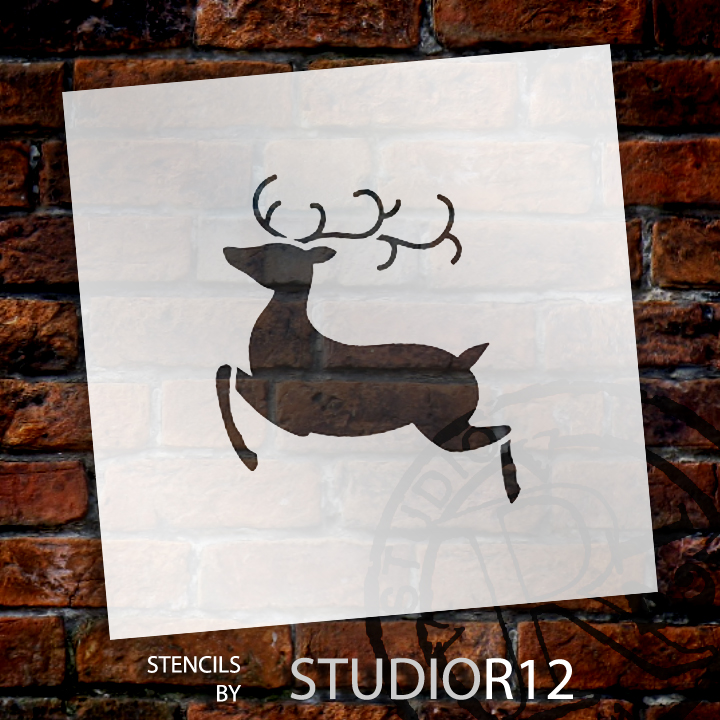 """Christmas Shapes Stencil - Flying Reindeer - 14"""" x 15"""" - STCL1547_5 - by StudioR12"""