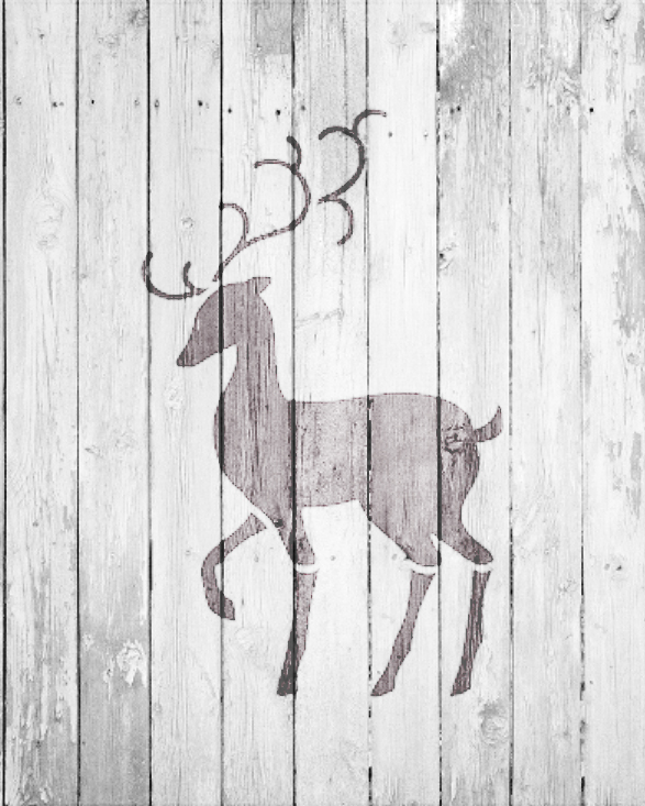 "Christmas Shapes Stencil - Elegant Reindeer - 4"" x 5"" - STCL1548_1 - by StudioR12"