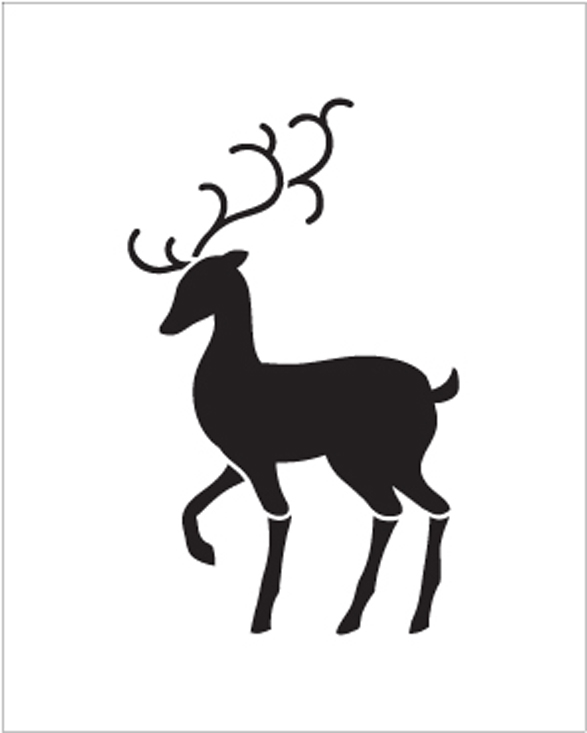 "Christmas Shapes Stencil - Elegant Reindeer - 4"" x 5"" - STCL1548_1 - by StudioR12"