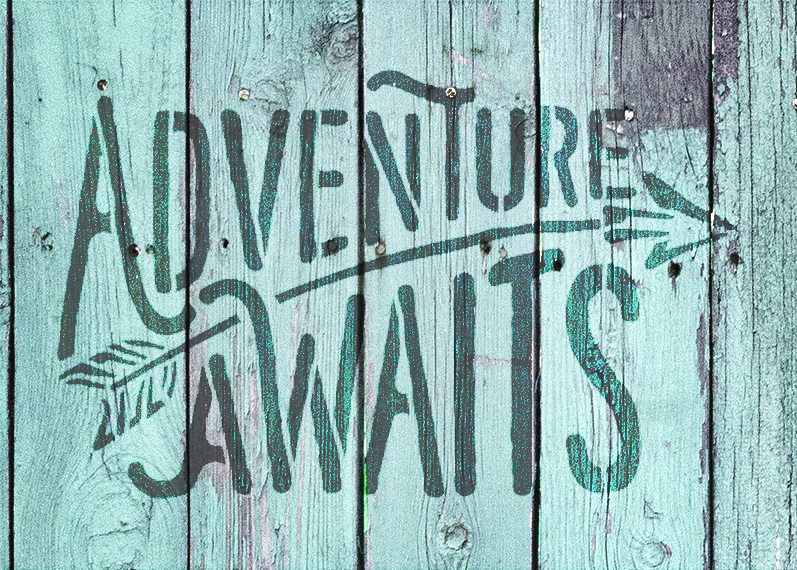 """Adventure Awaits - Rustic Curved - Word Art Stencil - 7"""" x 5"""" - STCL1751_1 - by StudioR12"""