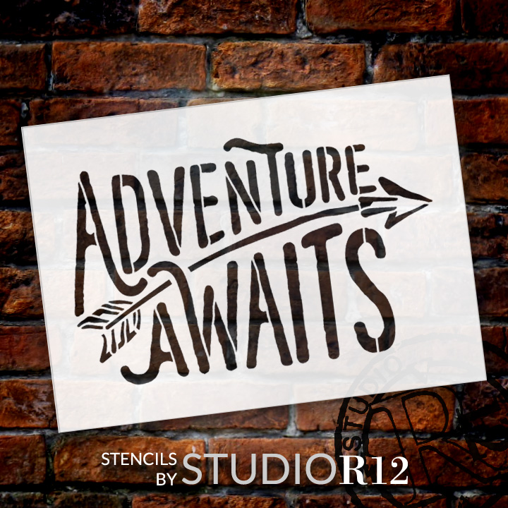 "Adventure Awaits - Rustic Curved - Word Art Stencil - 13"" x 9"" - STCL1751_3 - by StudioR12"