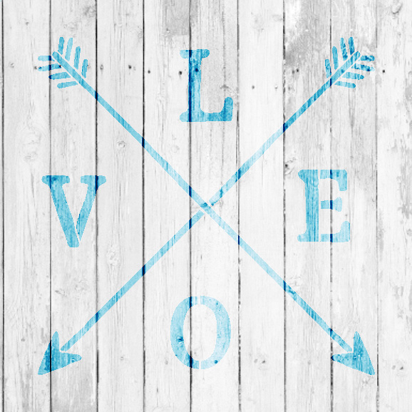 "Love - Rustic Crossed Arrows - Word Art Stencil - 12"" x 12"" - STCL1754_2 - by StudioR12"