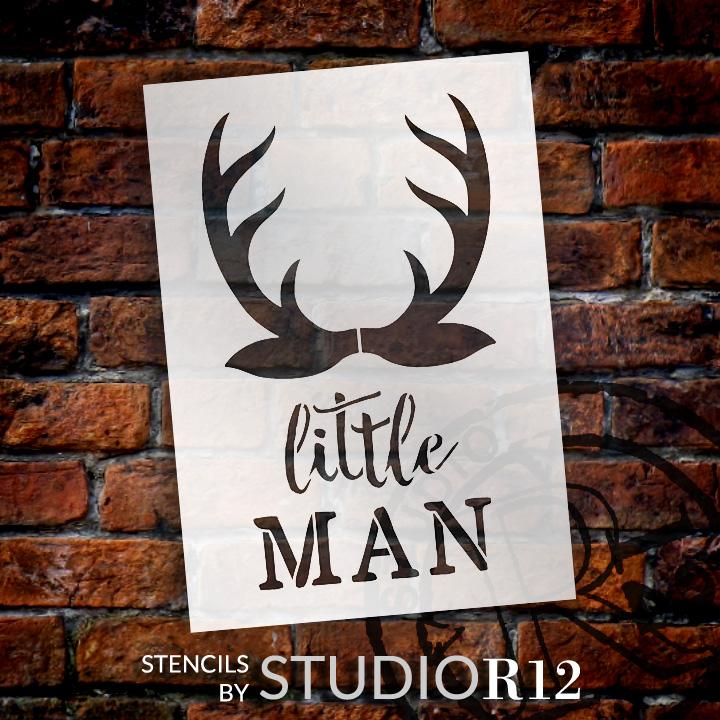 "Little Man - Antlers - Word Art Stencil - 7"" x 10"" - STCL1757_1 - by StudioR12"