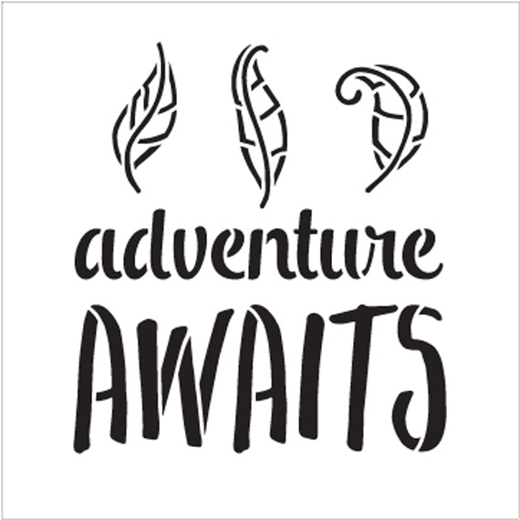 "Adventure Awaits - Curly Leaves - Word Art Stencil - 15"" x 15"" - STCL1775_4 - by StudioR12"
