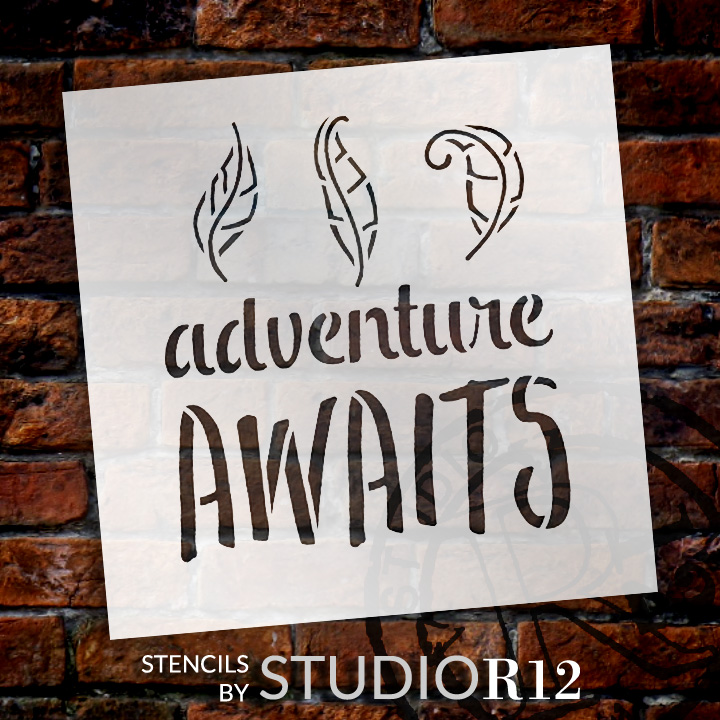 "Adventure Awaits - Curly Leaves - Word Art Stencil - 18"" x 18"" - STCL1775_5 - by StudioR12"