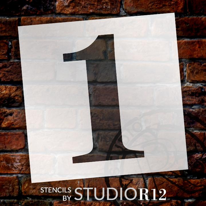 "Classic Serif Letter Stencil - 1 - 10"" - STCL1702_2 - by StudioR12"