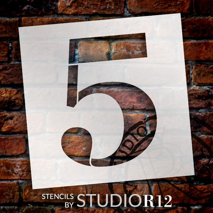"Classic Serif Letter Stencil - 5 - 15"" - STCL1706_4 - by StudioR12"