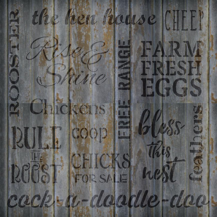 """Chicken Background Words - Word Stencil - 18"""" x 18"""" - STCL1524_4 - by StudioR12"""