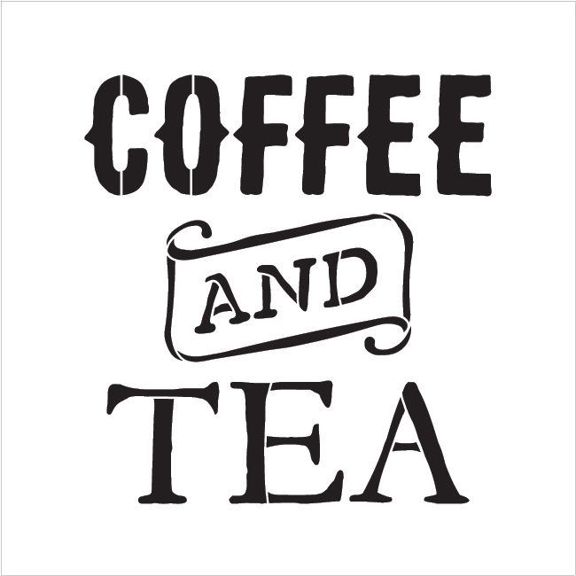 "Coffee And Tea - Vintage - Word Stencil - 9"" x 9"" - STCL1788_1 - by StudioR12"