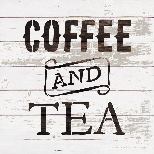 """Coffee And Tea - Vintage - Word Stencil - 12"""" x 12"""" - STCL1788_2 - by StudioR12"""