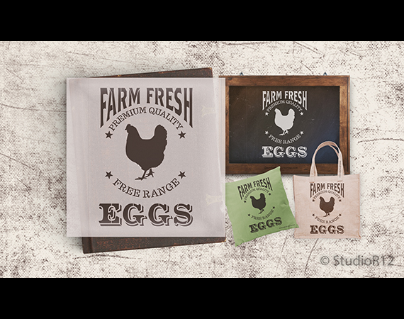 "Farm Fresh Eggs, Chicken Stencil by StudioR12 | Reusable Mylar Template - 18"" X 13"""