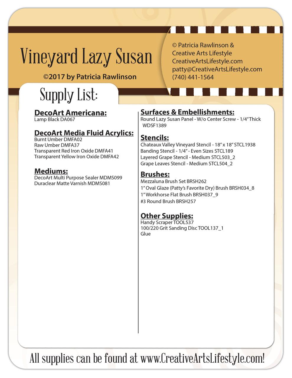 Vineyard Lazy Susan - Pattern Packet - Patricia Rawlinson