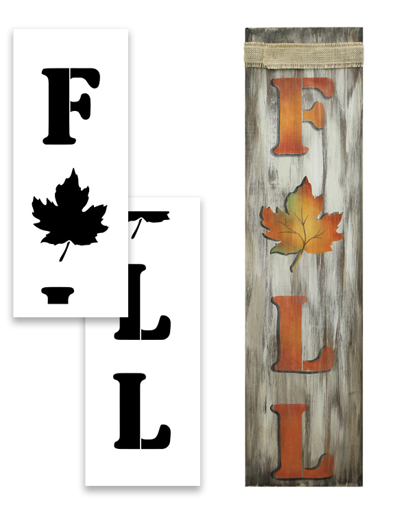 Fall Tall Porch Stencil with Leaf by StudioR12 | 2 Piece | DIY Large Vertical Autumn Home Decor | Front Door or Entryway | Craft & Paint Wood Leaner Signs | Reusable Mylar Template | Size 4ft