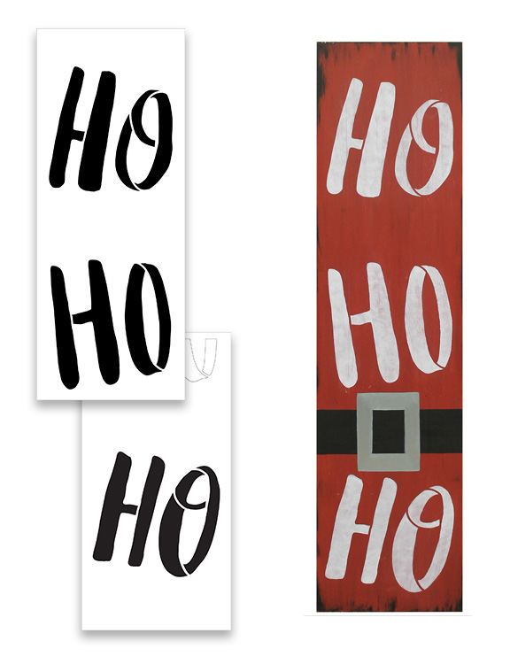 Ho Ho Ho Tall Porch Stencil by StudioR12 | 2 Pcs | DIY Large Vertical Christmas Holiday Outdoor Home Decor | Front Porch Entryway | Craft & Paint Wood Leaner Signs | Reusable Mylar Template | Size 4ft