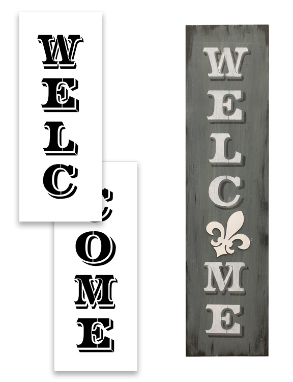 """Welcome Word Stencil - Old Post Vertical - 48"""" x 12"""""""