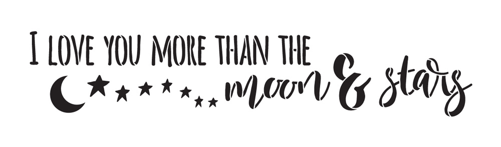 "Moon and Stars - Word Art Stencil - 17"" x 5"" - STCL1899_1 - by StudioR12"