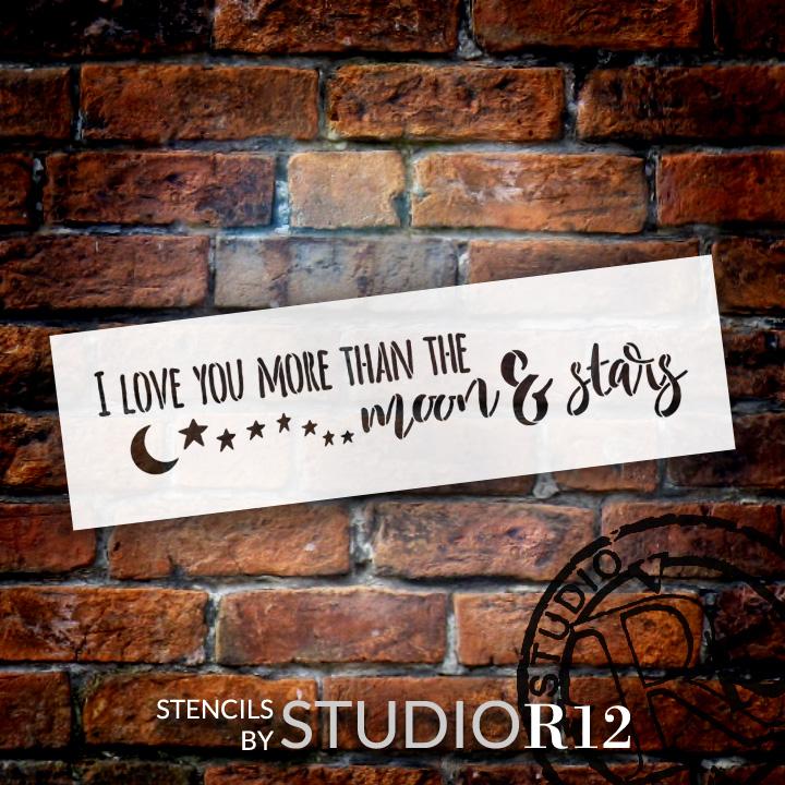 "Moon and Stars - Word Art Stencil - 23"" x 7"" - STCL1899_3 - by StudioR12"
