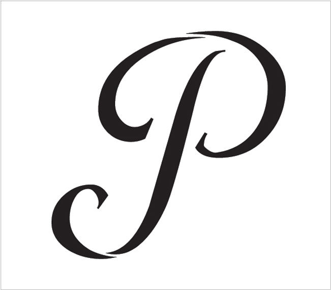 "Graceful Monogram Stencil - P - 15"" - STCL1916_6 - by StudioR12"