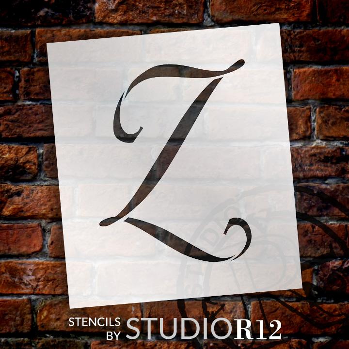 "Graceful Monogram Stencil - Z - 15"" - STCL1926_6 - by StudioR12"