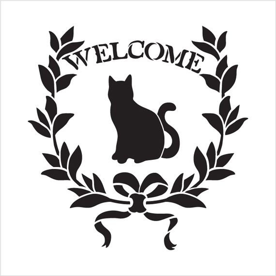 "Welcome - Cat - Word Art Stencil - 13"" x 13"" - STCL1946_2 - by StudioR12"