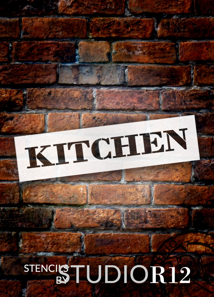 "Kitchen - Farmhouse Serif - Word Stencil - 12"" x 3"" - STCL1951_1 - by StudioR12"